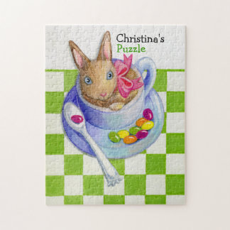 Easter Rabbit in Tea Cup with Green Checks Jigsaw Puzzle