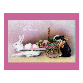 Easter Rabbit Pulling Flower Cart Post Card