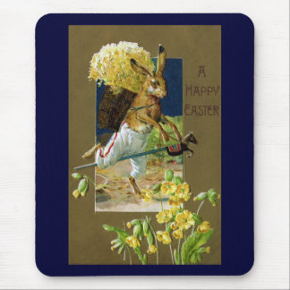 Easter Rabbit Riding Hobby Horse Mouse Pad