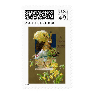 Easter Rabbit Riding Hobby Horse Postage Stamp
