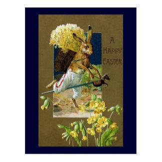 Easter Rabbit Riding Hobby Horse Post Card