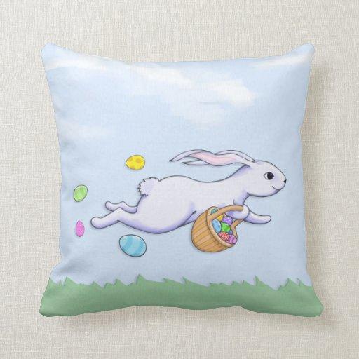 Easter Rabbit Run Cushion Throw Pillows