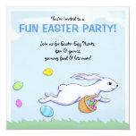 "Easter Rabbit Run Easter Party Invitation 5.25"" Square Invitation Card"