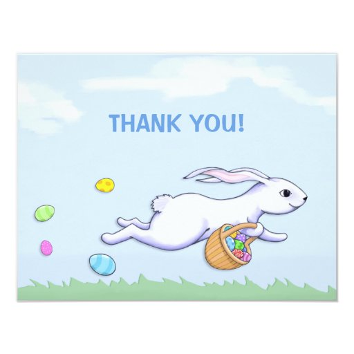 """Easter Rabbit Run Easter Party Thank You Card 4.25"""" X 5.5"""" Invitation Card"""