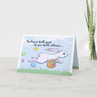 Easter Rabbit Run Happy Easter Birthday Card card