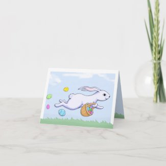 Easter Rabbit Run Note Card card