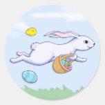 Easter Rabbit Run Round Sticker