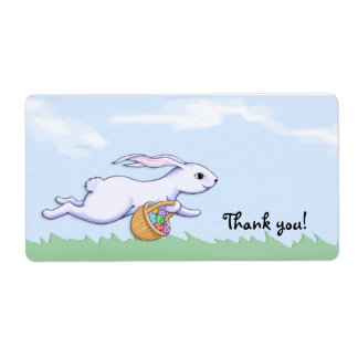 Easter Rabbit Run Thank You Party Favor Gift Tag Label