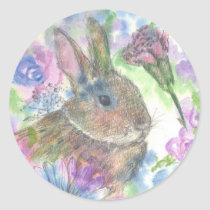 Easter Rabbit Spring Garden Classic Round Sticker