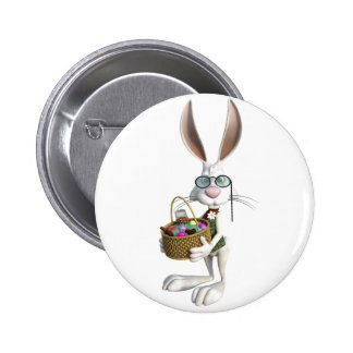 Easter Rabbit with Easter Basket Button