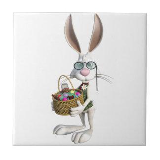 Easter Rabbit with Easter Basket Ceramic Tile