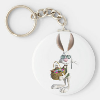 Easter Rabbit with Easter Basket Keychain
