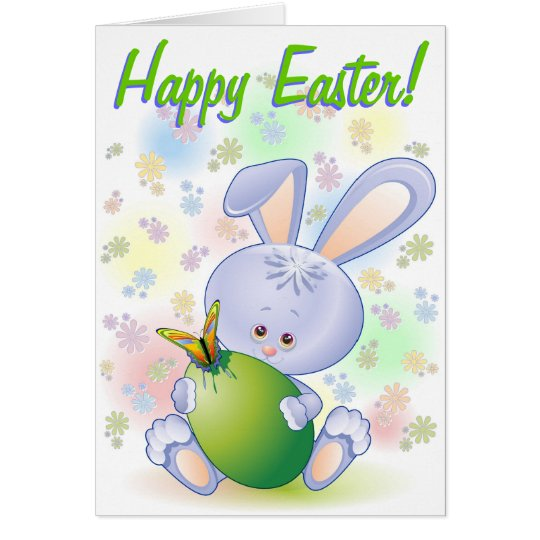 Easter Rabbit with Egg and Flowers Card