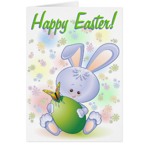 Easter Rabbit with Egg and Flowers Greeting Card