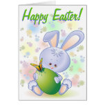 Easter Rabbit with Egg and Flowers Greeting Cards