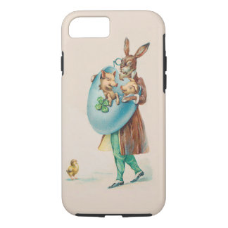 Easter Rabbit With Pigs - Cute Vintage Animal Art iPhone 8/7 Case