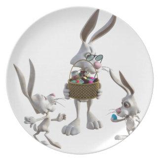 Easter Rabbits at Easter Dinner Plate