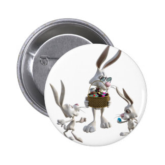 Easter Rabbits at Easter Pinback Button