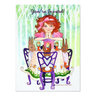 Easter Rabbits Brunch with Little Girl Card