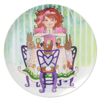 Easter Rabbits Brunch with Little Girl Plate