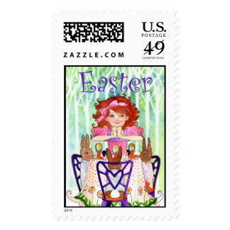 Easter Rabbits Brunch with Little Girl Postage