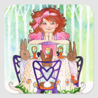 Easter Rabbits Brunch with Little Girl Square Sticker