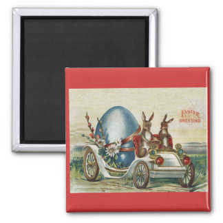 Easter Rabbits in Antique Car Big Blue Egg Magnet