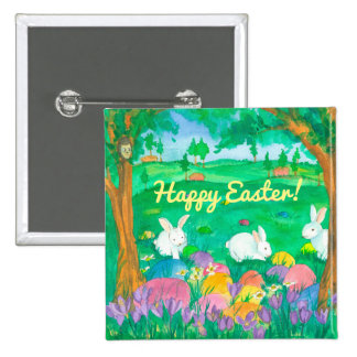 Easter Rabbits Pinback Button