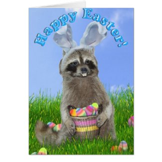 Easter Raccoon Bandit Card