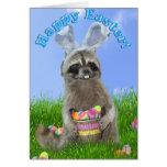Easter Raccoon Bandit Greeting Card