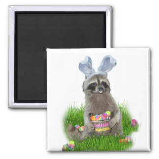 Easter Raccoon Bandit 2 Inch Square Magnet