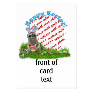 Easter Raccoon Bandit Photo Frame Large Business Cards (Pack Of 100)