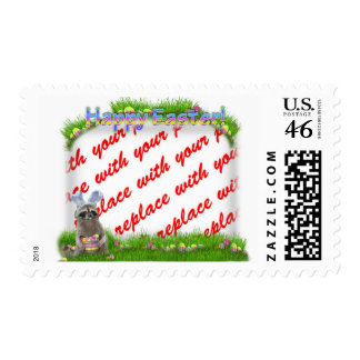 Easter Raccoon Bandit Photo Frame Postage Stamps