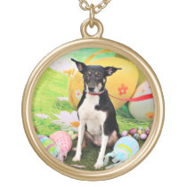 Easter - Rat Terrier - Georgia Gold Finish Necklace