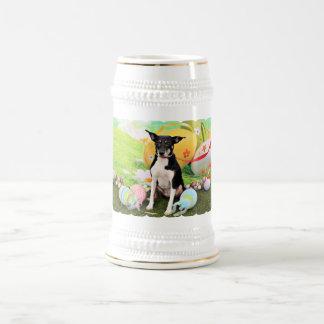 Easter - Rat Terrier - Georgia 18 Oz Beer Stein
