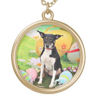 Easter - Rat Terrier - Georgia Round Pendant Necklace