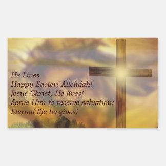 Easter - Religious Jesus and Crusifix Gold Rectangular Sticker