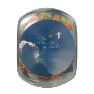 Easter Resurrection He Is Risen Christ Jesus rose Jelly Belly Candy Jar