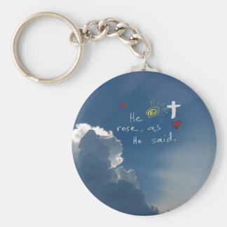 Easter Resurrection He Is Risen Christ Jesus rose Key Chain