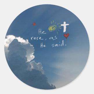 Easter Resurrection He Is Risen Christ Jesus rose Round Sticker