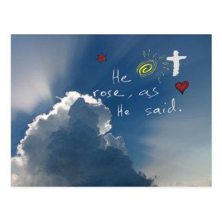 Easter Resurrection He Is Risen Jesus Rose Postcard
