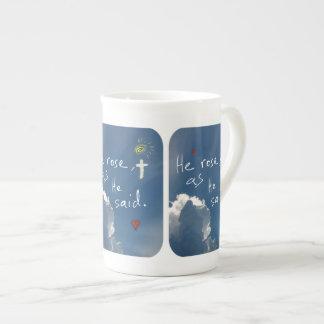 Easter Resurrection He Is Risen Jesus Rose Porcelain Mug