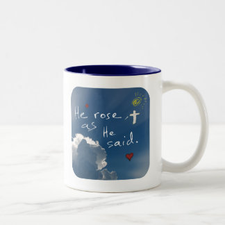 Easter Resurrection He Is Risen Jesus Rose Two-Tone Coffee Mug