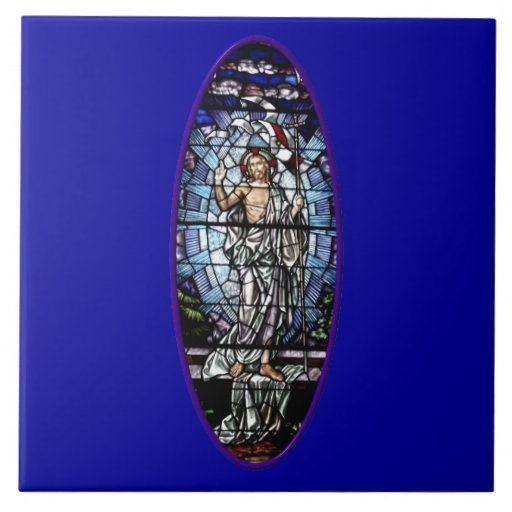 Easter: Resurrection of Christ stained glass Large Square Tile