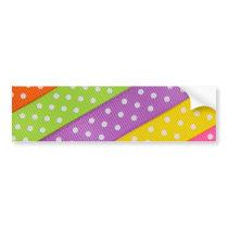 Easter Ribbon - Bright Colors Polka Dot Bumper Sticker