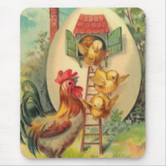 Easter Rooster Chick Egg Birdhouse Mouse Pad