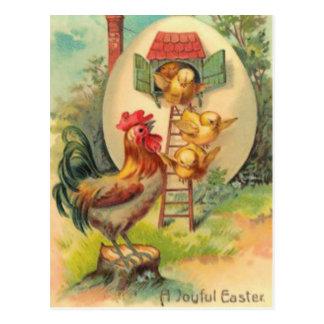 Easter Rooster Chick Egg Birdhouse Postcard
