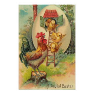 Easter Rooster Chick Egg Birdhouse Poster