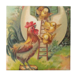 Easter Rooster Chick Egg Birdhouse Tile