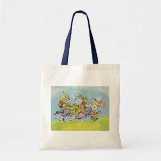 Easter Running Pastel Rabbits Budget Tote Bag